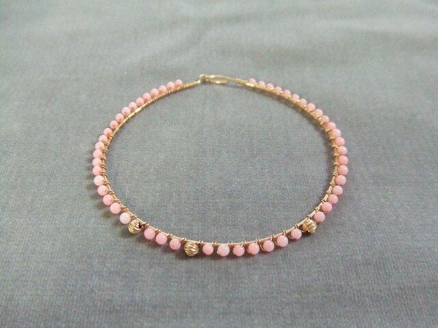 14kgf ピンクカラーサンゴワイヤーブレスレット k14gf珊瑚コーラルの画像1枚目
