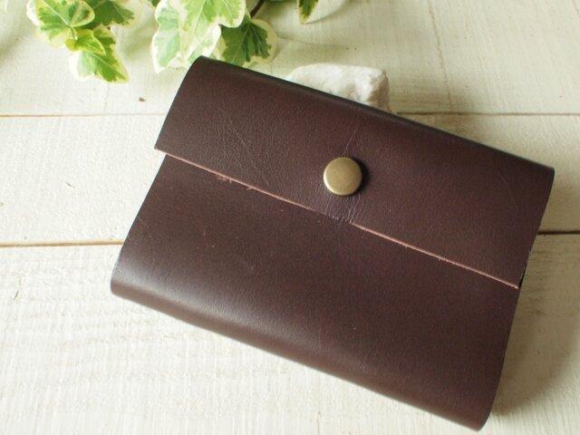 本革 チョコレイト色のカードケースの画像1枚目