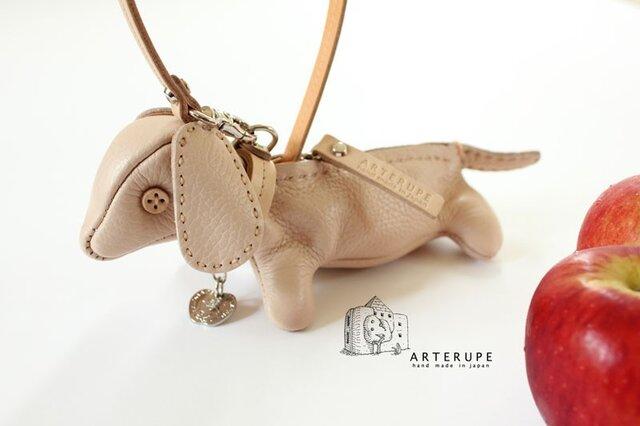 クレーマ子犬キーポーチCucciolo Leather Eyedイタリア製シュリンクレザーの画像1枚目