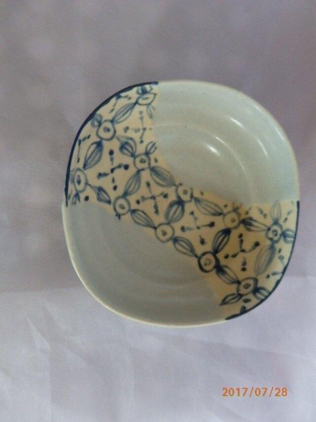 小鉢 織部風 マットなブルー系の画像1枚目