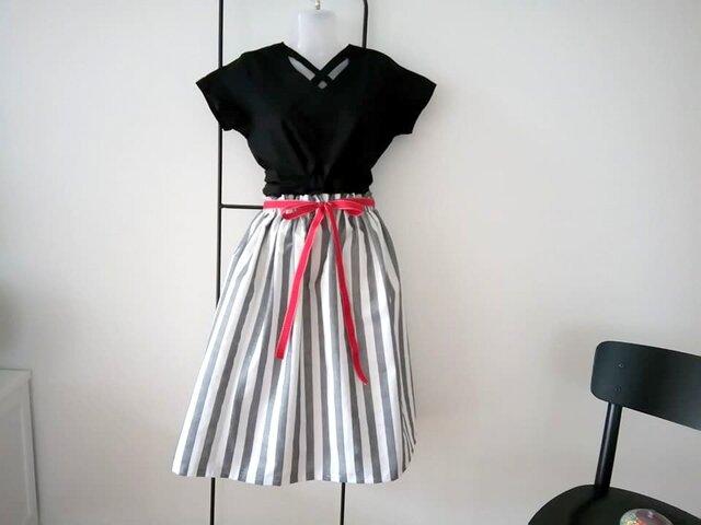 ★北欧ストライプ★デンマークの木立ちのスカートの画像1枚目