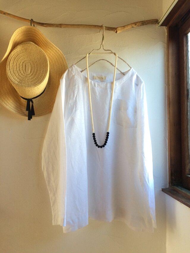 g様ご予約品 リネン100 ポケット付きプルオーバーブラウス  ホワイトの画像1枚目