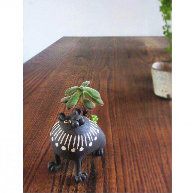 動物植木鉢  ライオン/黒(小)の画像1枚目