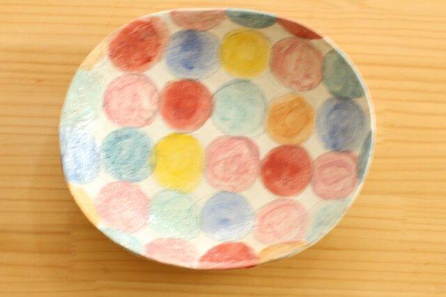 ※受注制作 粉引きカラフルドットのオーバル皿。の画像1枚目
