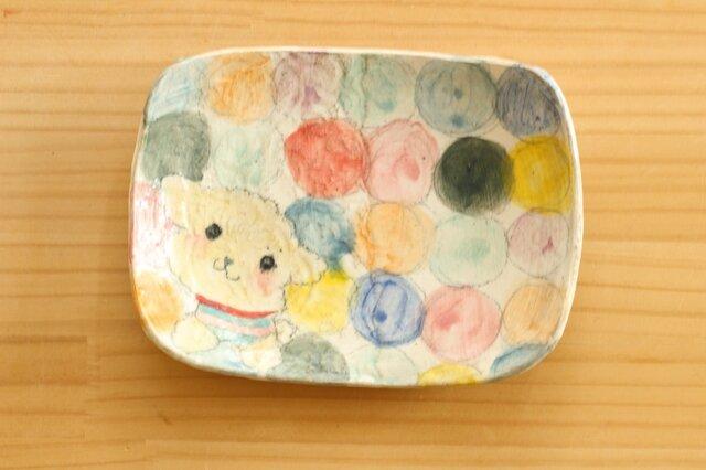 ※受注制作 粉引きカラフルドットとトイプードルのスクエアケーキ皿。の画像1枚目