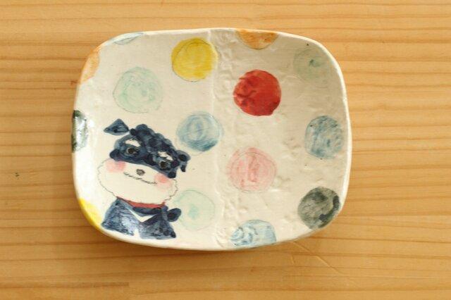 ※受注制作 粉引きカラフルドットとミニチュアシュナウザーのスクエアケーキ皿。の画像1枚目