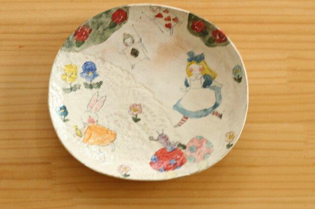 ※受注制作 粉引き不思議の国のアリスオーバル皿。の画像1枚目