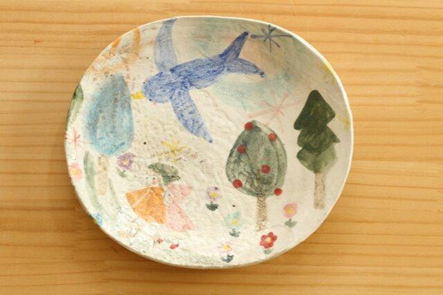 粉引き幸せの青い鳥オーバル皿。の画像1枚目