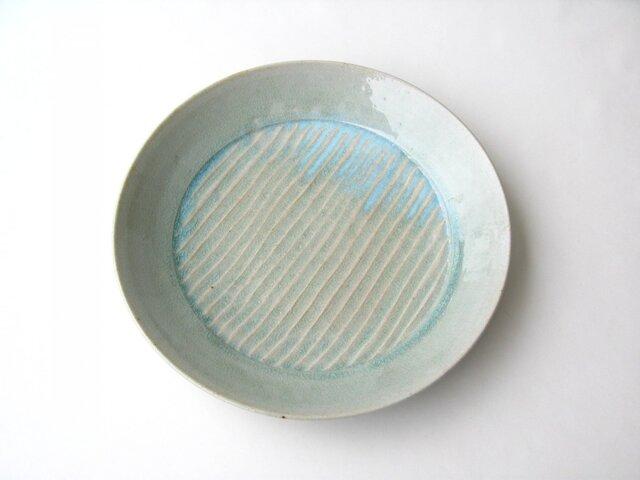 灰釉波紋の大皿 (送料無料)の画像1枚目