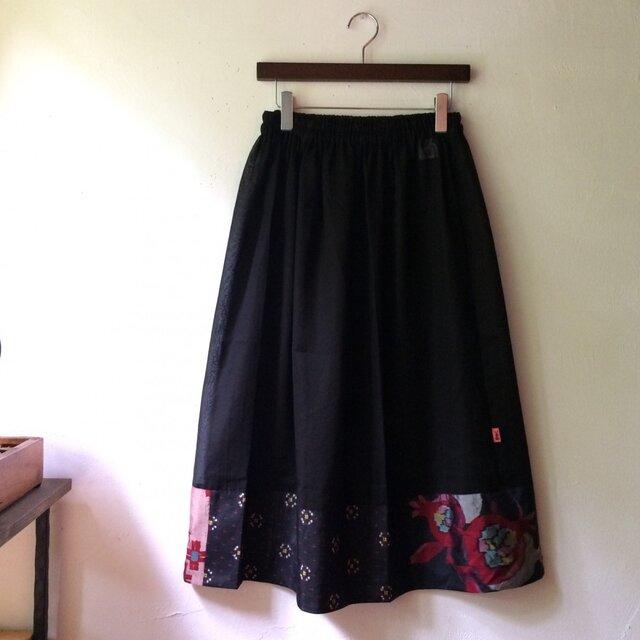 銘仙ペチコート047BK オーバースカート アンダースカート シースルー 透け感の画像1枚目