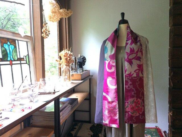 銘仙と播州織のストール「PINKピンク」010(紫×刺繍)麻 リネン コットンの画像1枚目
