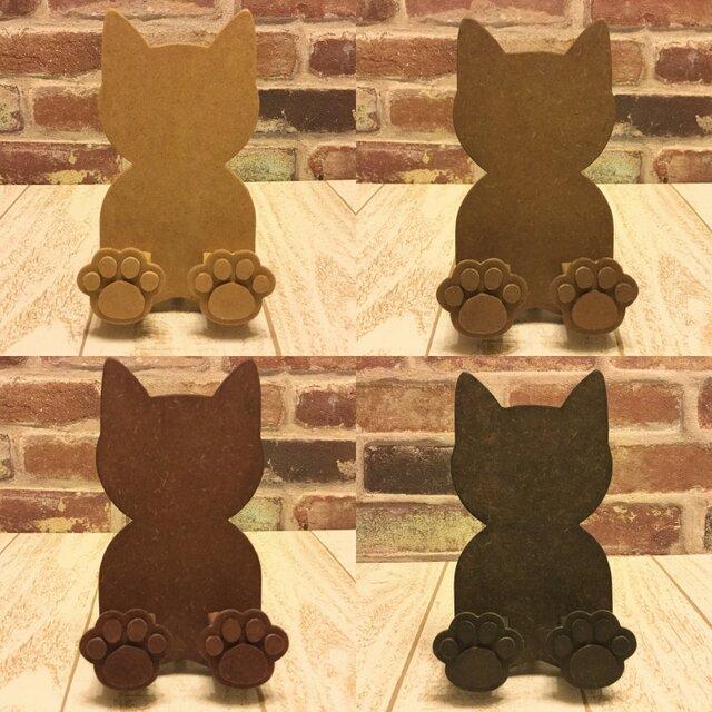 肉球付☆猫型スマホスタンド・iPhoneスタンド☆色変更も可能!の画像1枚目