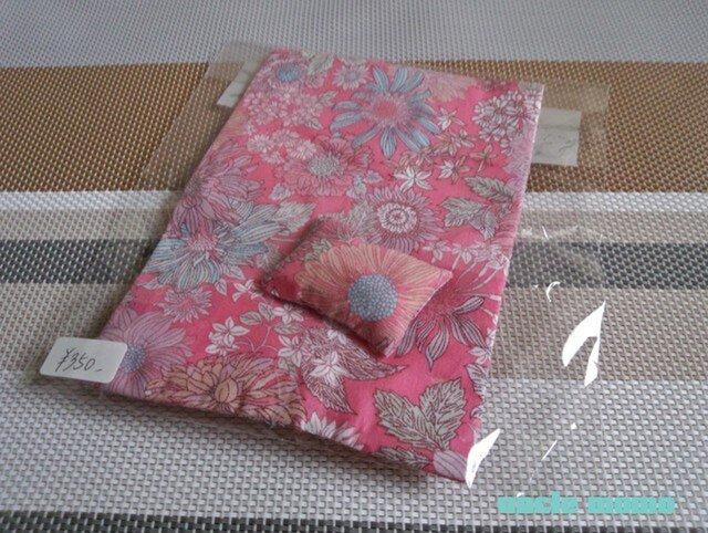 ドール用枕&掛布団SS・シングル用(薄)パリの日々(ピンク)1/12ミニチュア・ファブリックの画像1枚目