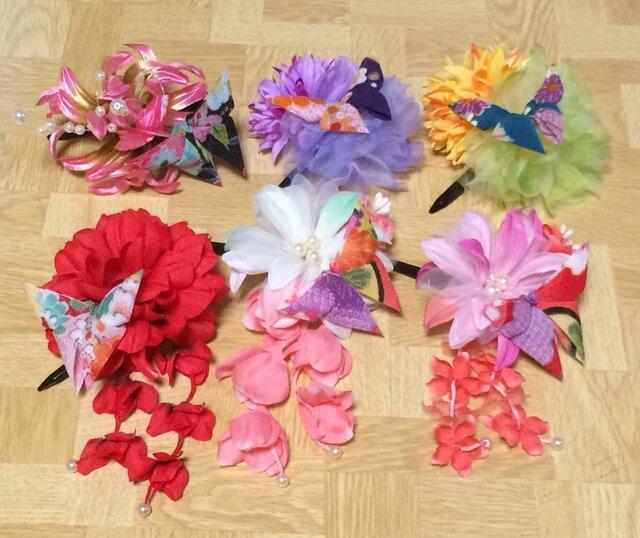 イベント用★ちりめん蝶々の花かざりの画像1枚目