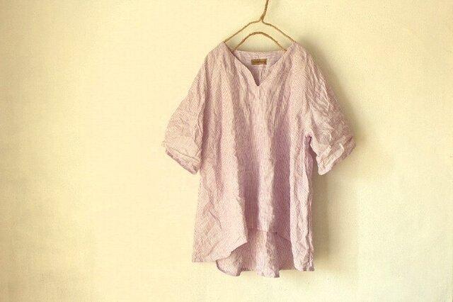 【受注製作】国産リネン100%ストライプ Aラインキーネックシャツ パープル系の画像1枚目