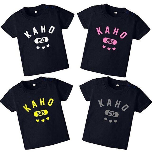 全4色☆ネイビー☆ハートカレッジTシャツ★名入れ☆ロンパースも☆の画像1枚目