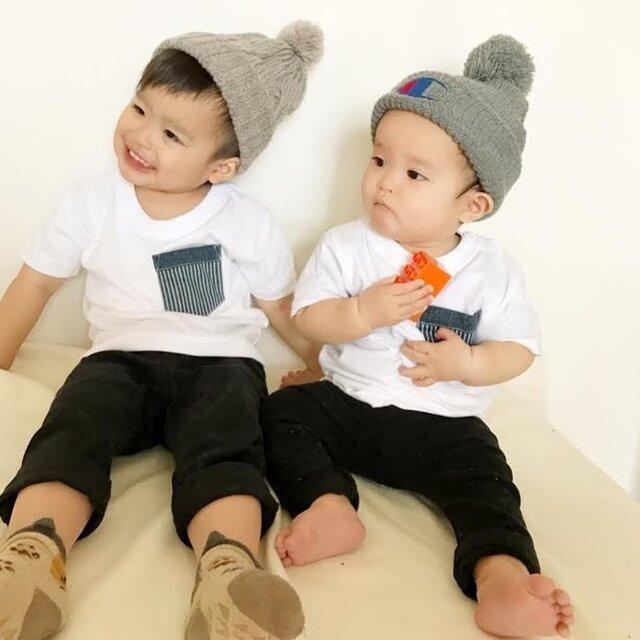 2枚セット★デニム風×ヒッコリーポケットTシャツ☆赤ちゃんサイズもあります♪お揃いコーデ♪の画像1枚目