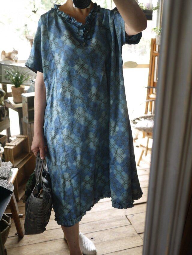 青正絹フリルストンとワンピースの画像1枚目