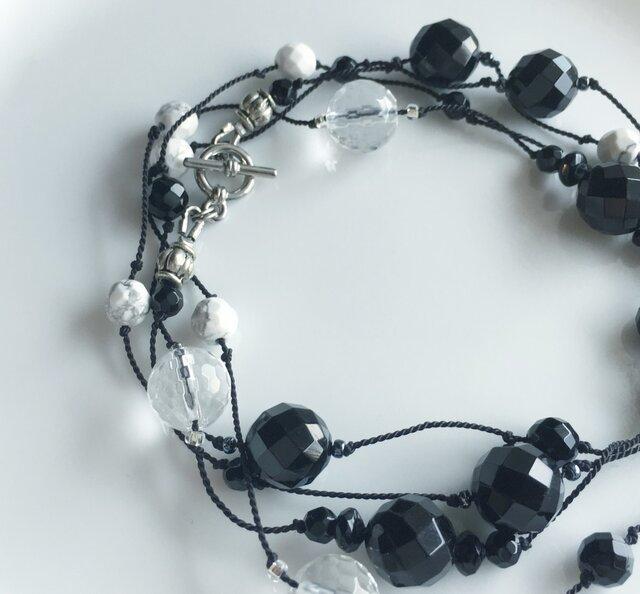 オニキス&水晶ネックレス/シルクコード の画像1枚目