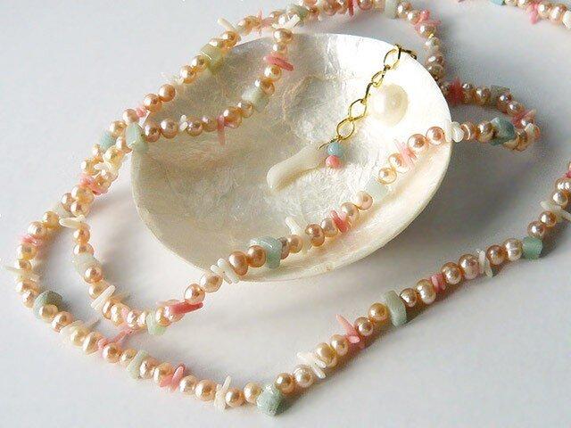【再販】オレンジ淡水パールとサンゴのロングネックレスの画像1枚目