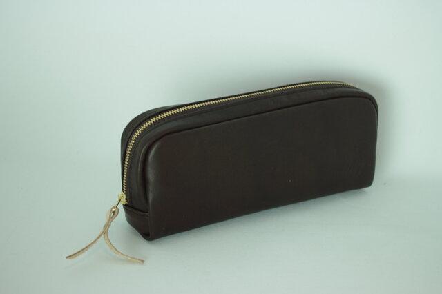 柔らかなポーチ ホースレザー ペンケース チョコ 化粧ポーチ 茶apo-06paの画像1枚目