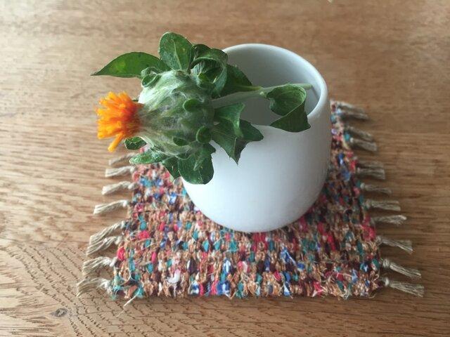 kazenoneko【風の猫】のアジアの布 裂織りコースター aburaeの画像1枚目