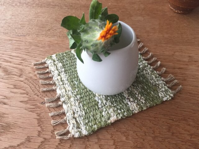 kazenoneko【風の猫】のアジアの布 裂織りコースターの画像1枚目