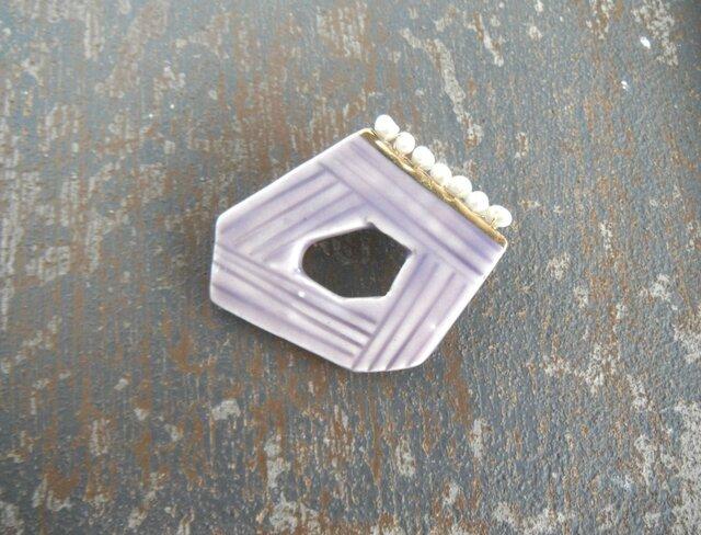 淡水パールのより添うの陶broach 〈ラベンダー〉の画像1枚目