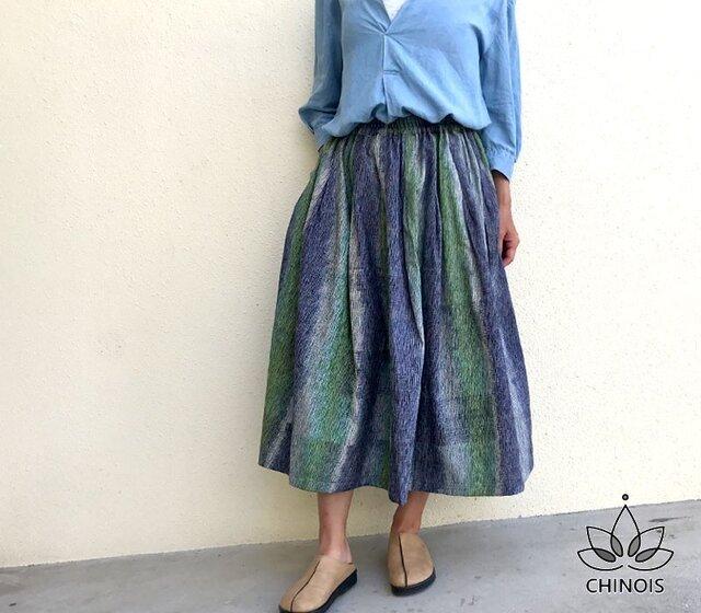 フリーサイズ手織りコットンのギャザーロングスカート、オールシーズン可、YPSK71Cの画像1枚目
