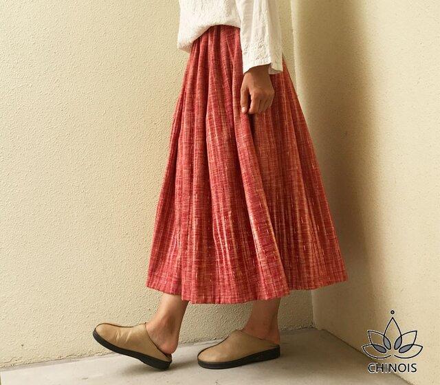 再販手織りコットンのギャザーロングスカート、オールシーズン可、YPSK71Bの画像1枚目