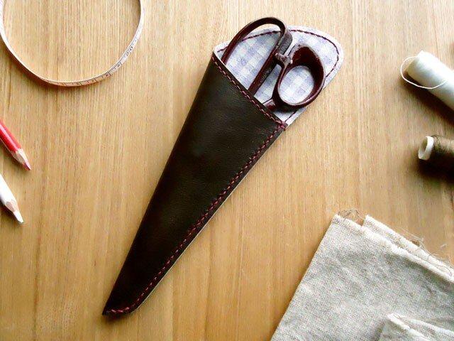 革の裁ちばさみケース(Sサイズ)藤色チェック柄の画像1枚目