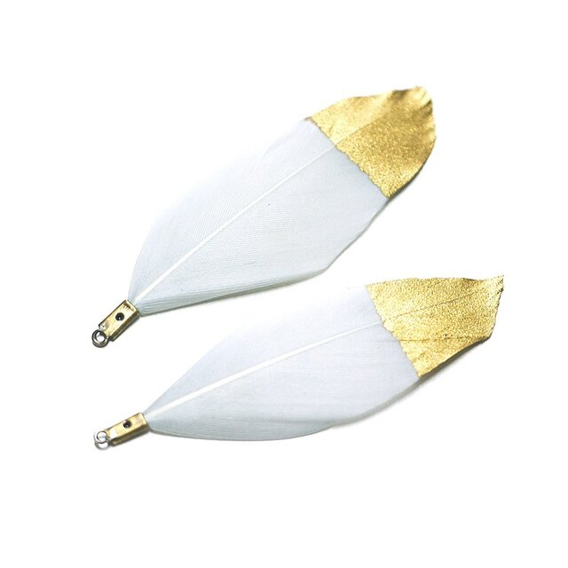 【2個】DUCK Featherライトグレーカラー&金粉フェザーチャーム、パーツの画像1枚目