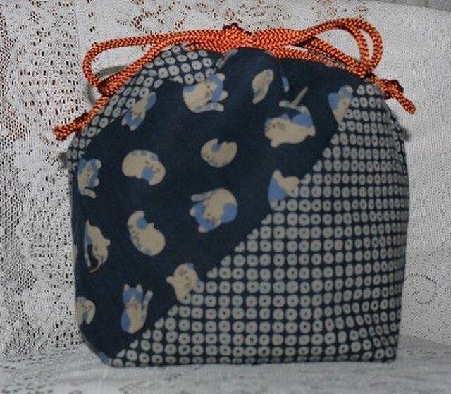 和調モダン柄の巾着袋の画像1枚目