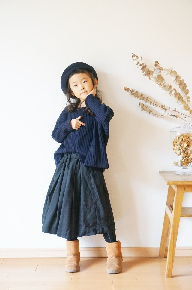 French Linen tuck skirt 90sizeの画像1枚目