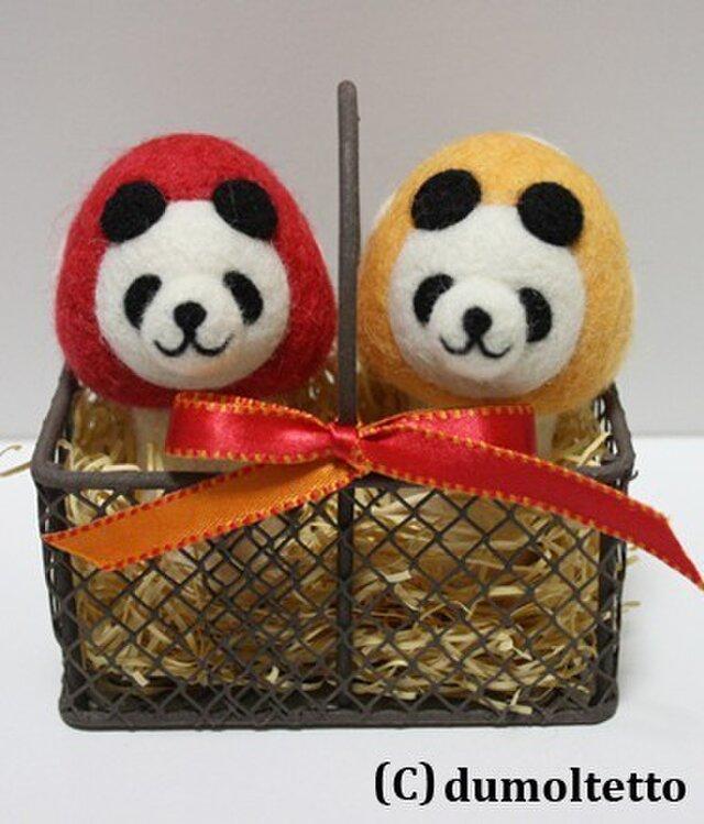 羊毛フェルトキノコパンダのマスコットセット(赤&黄色)の画像1枚目