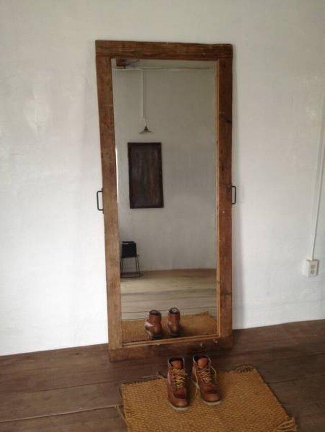 アンティーク 古材 鏡は新品 大きい鏡 姿見 壁置きミラー 鏡 美容室 ご自宅 の画像1枚目