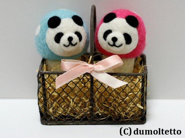 羊毛フェルトキノコパンダのマスコットセット(水色&ピンク)の画像1枚目