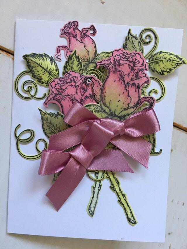 薔薇の花束 ピンク 小サイズカード(ピンクリボン)の画像1枚目