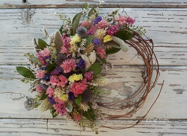 atelierBLUGRA八ヶ岳〜(新作)小花を集めたWreathの画像1枚目
