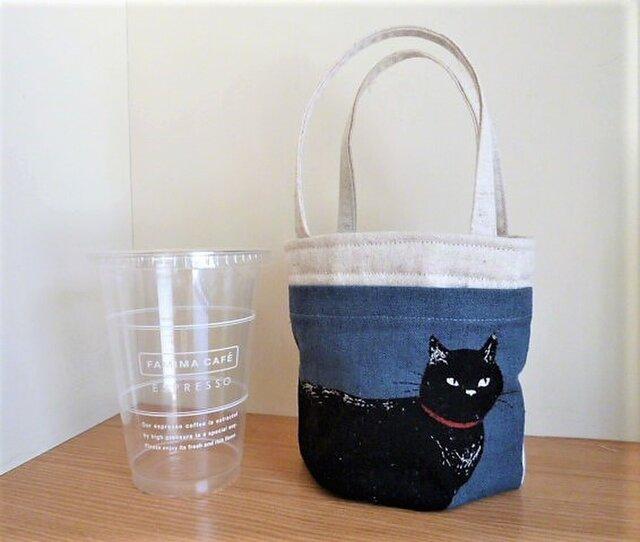 超便利☆コンビニコーヒー収納ミニトートバッグ(大)*黒猫ダークブルーの画像1枚目