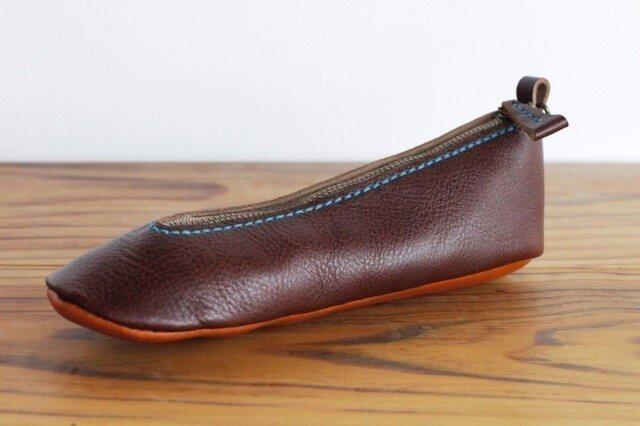 靴型ペンケース DBR×BR-2 #2-2 (イタリアンレザー)の画像1枚目