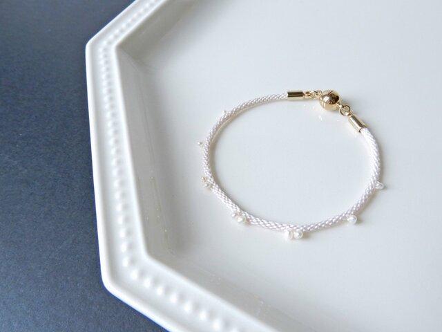 ※受注制作※手組み組紐【金剛組:淡水パール】bracelet/pink whiteの画像1枚目