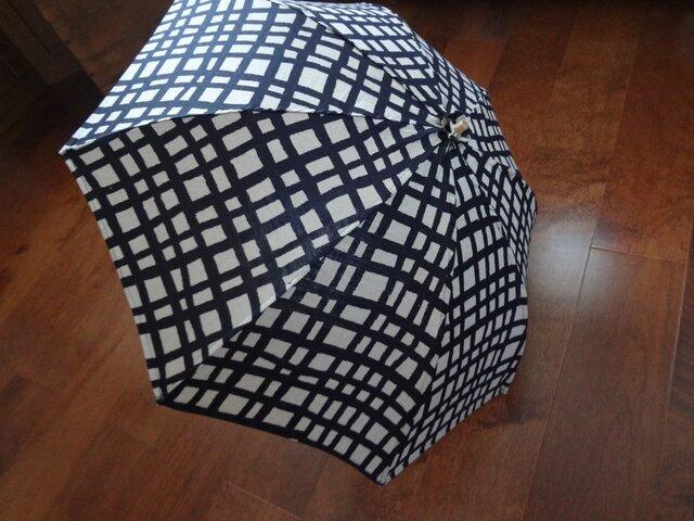 折りたたみ日傘☆リネン格子柄の画像1枚目