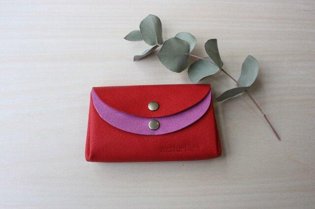ピッグスキンの小さなお財布 レッド×ピンクの画像1枚目