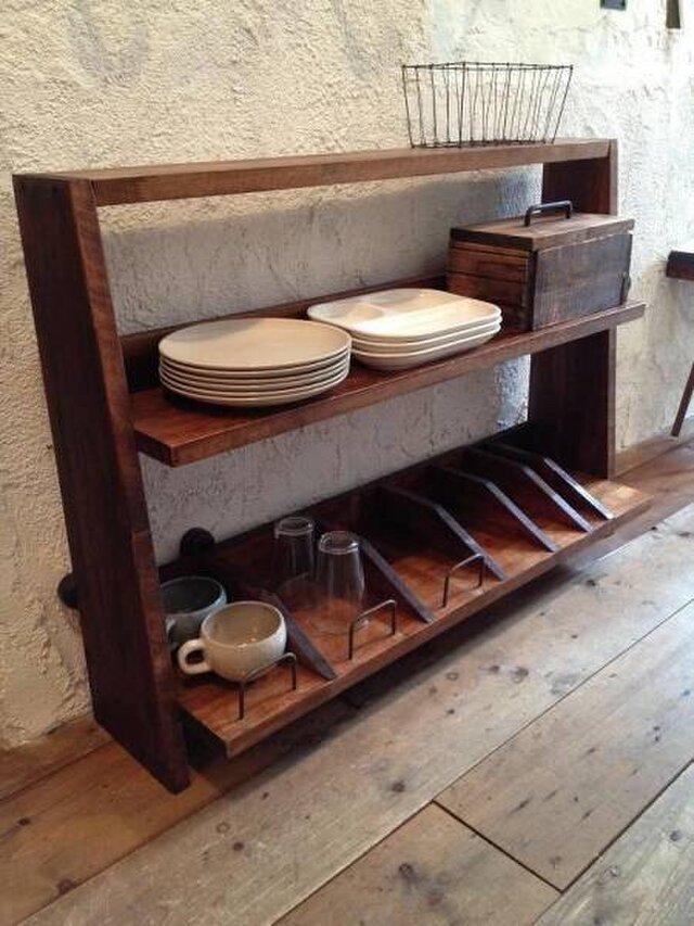 数量限定 棚 食器棚 ディスプレイ 飾り棚 収納 キッチンリビング サイズオーダー可能(別途お見積り)の画像1枚目