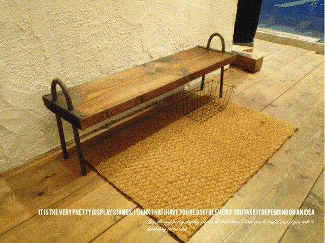 数量限定 CTB-25 ベンチ 腰掛け 飾り棚 靴棚 花台 ディスプレイラック アイアン 古材 フラワースタンド 踏み台の画像1枚目
