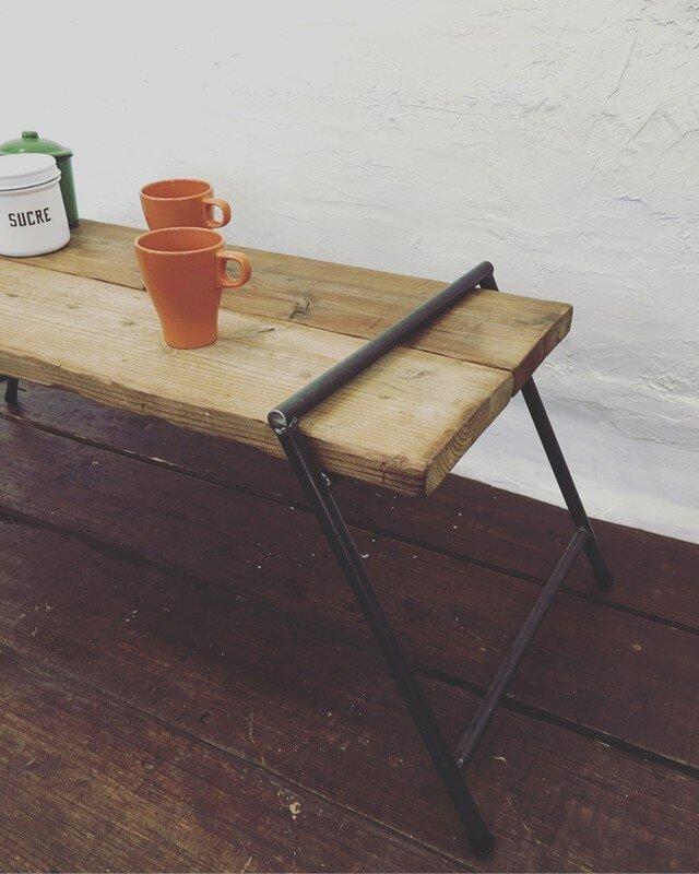数量限定 工具不要 ディスプレイラック ベンチ アウトドア 花台 サイドテーブル アイアン脚 プランタースタンド 古材 ダブルの画像1枚目