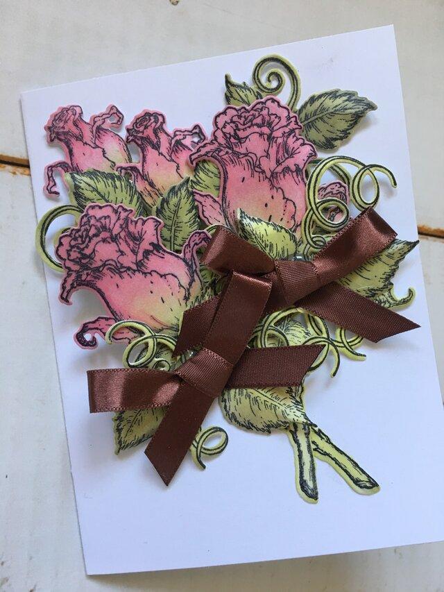 薔薇の花束 ピンク 小サイズカード(ブラウンリボン)の画像1枚目