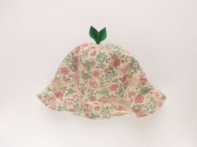 ぐんぐん大きくなあれ!葉っぱハット 花柄 ピンクの画像1枚目