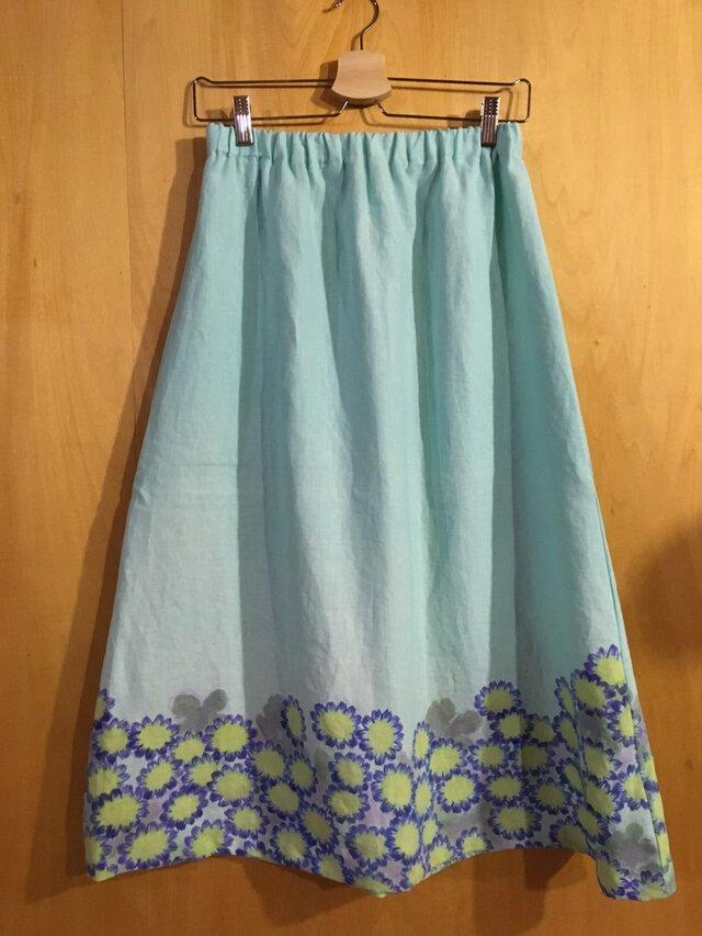 手描き染め 麻のスカート*ペパーミントの花畑*の画像1枚目